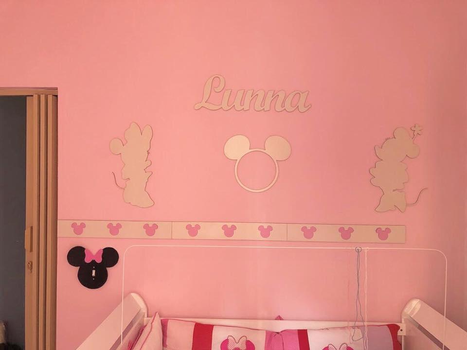 Kit Painel de Parede Completo 8 peças Minnie Personalizado Decoração Quarto do Bebê