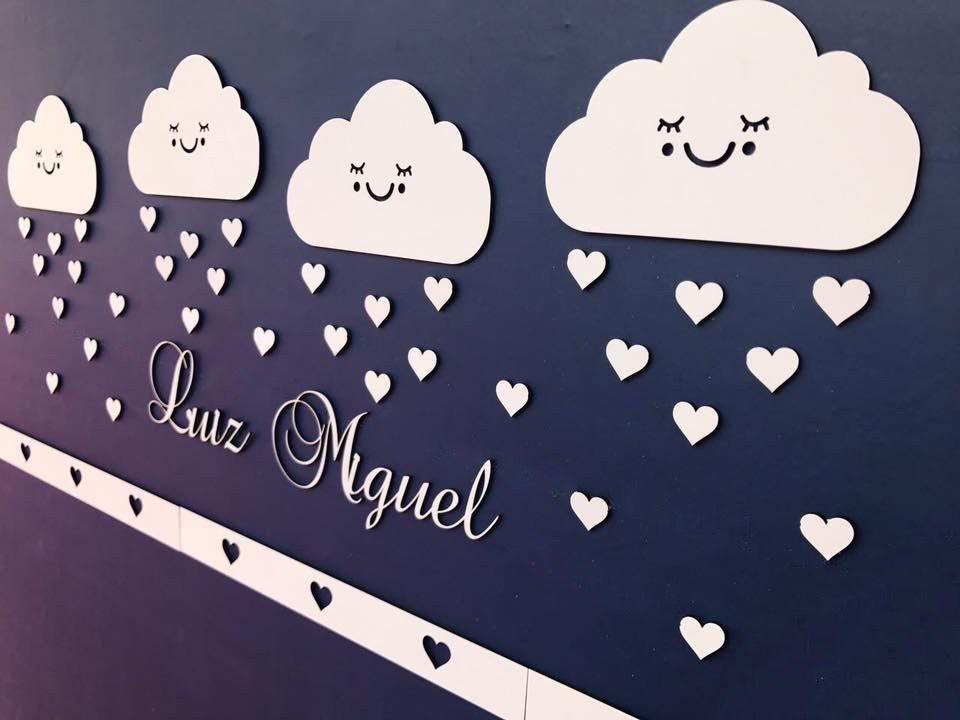 Kit Painel de Parede Completo 48 peças Nuvens Chuva de Amor Personalizado Nuvem