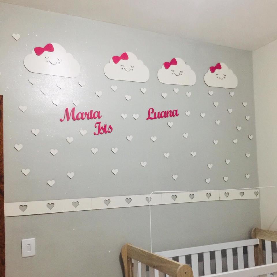 Kit Painel de Parede Completo para Gêmeos com dois Nomes - Nuvens Chuva de Amor - Nome e Lacinhos Coloridos