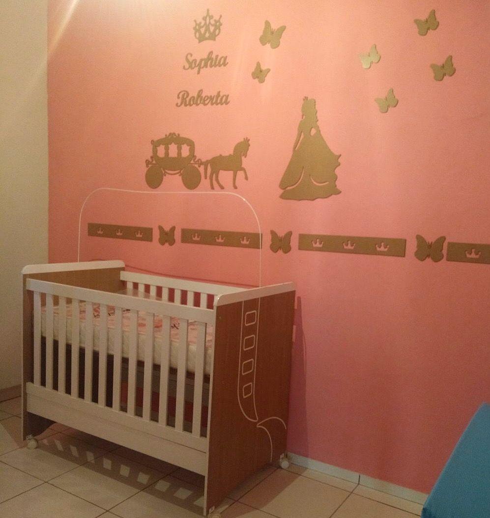 Kit Painel de Parede Completo Princesa Carruagem Borboletas Personalizado MDF CRU