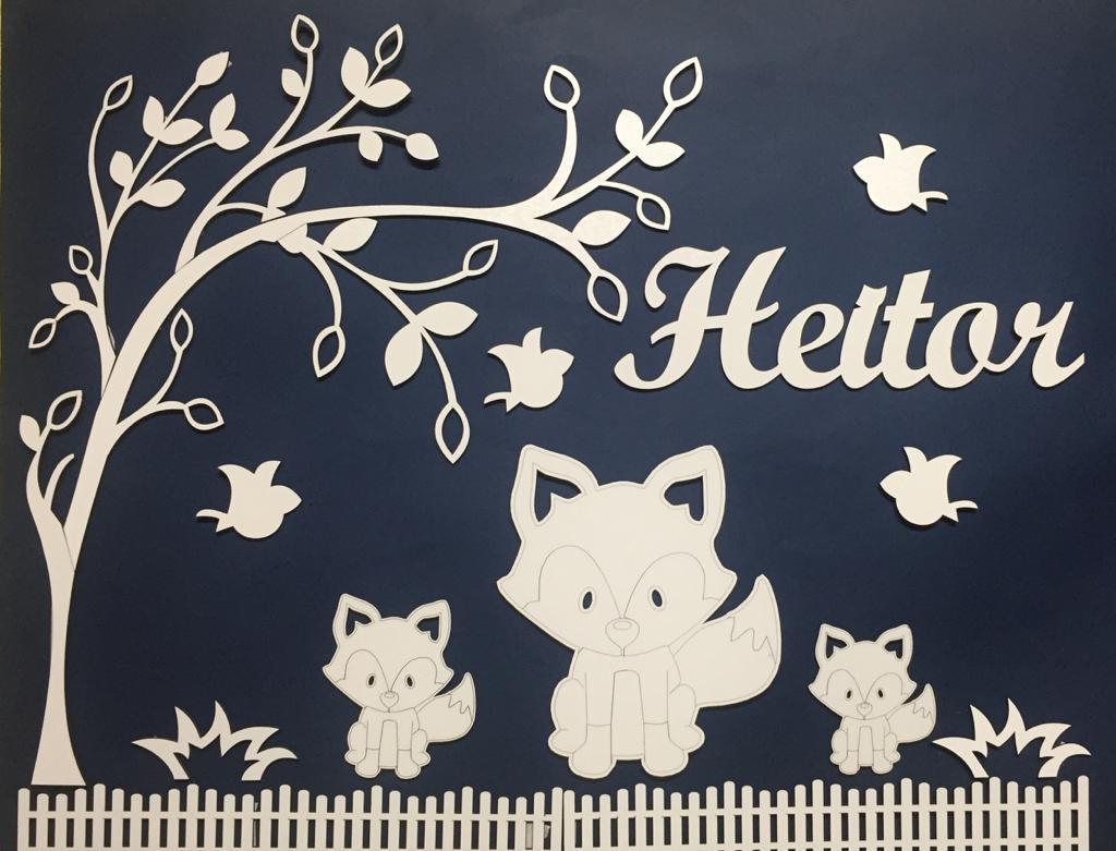 Kit Painel de Parede Completo Raposas  Personalizado Decoração Quarto do Bebê