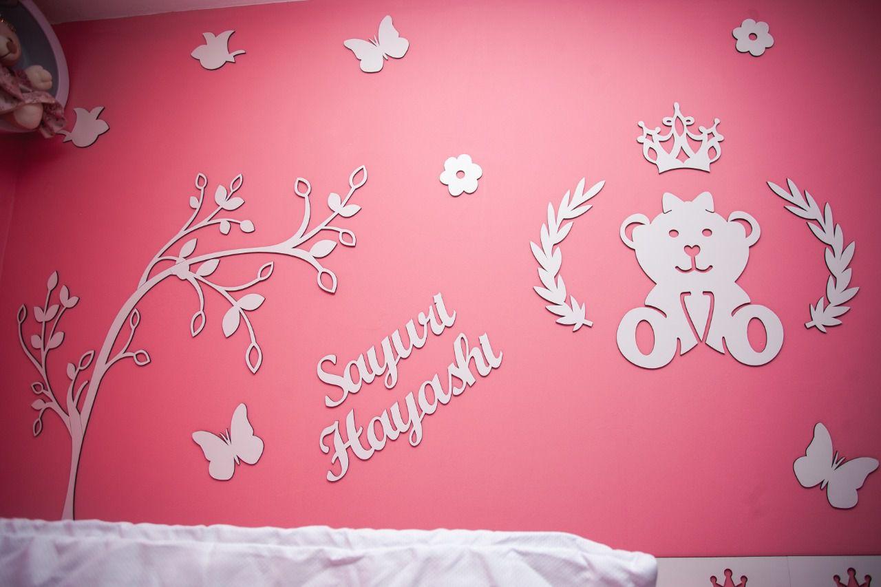 Kit Painel de Parede Completo Ursa Princesa Lacinho com Árvore Personalizado MDF Cru