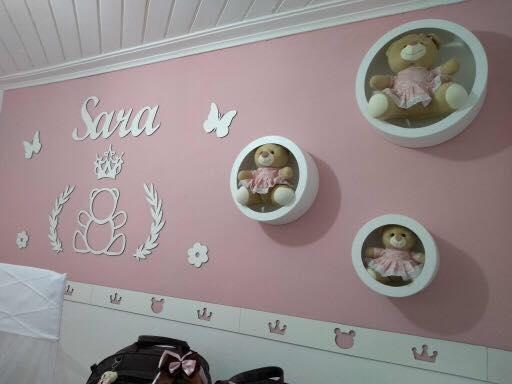 Kit Painel de Parede Completo 13 peças Ursa Princesa Personalizado 2 Decoração Quarto do Bebê