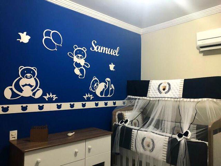 Kit Painel de Parede Completo Ursinhos Personalizado Decoração Quarto do Bebê