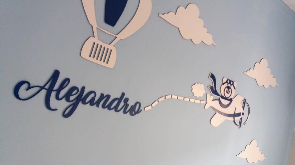 Kit Painel de Parede Completo 20 peças Urso Aviador Personalizado Decoração Quarto do Bebê