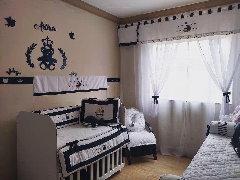 Kit Painel de Parede Completo 13 peças Urso Príncipe Coração Personalizado MDF Azul Marinho