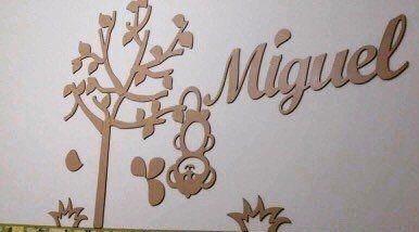 Kit Painel de Parede Completo 9 peças Macaquinho MDF CRU