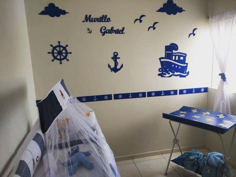 Kit Painel de Parede Marinheiro Completo Personalizado MDF AZUL MARINHO