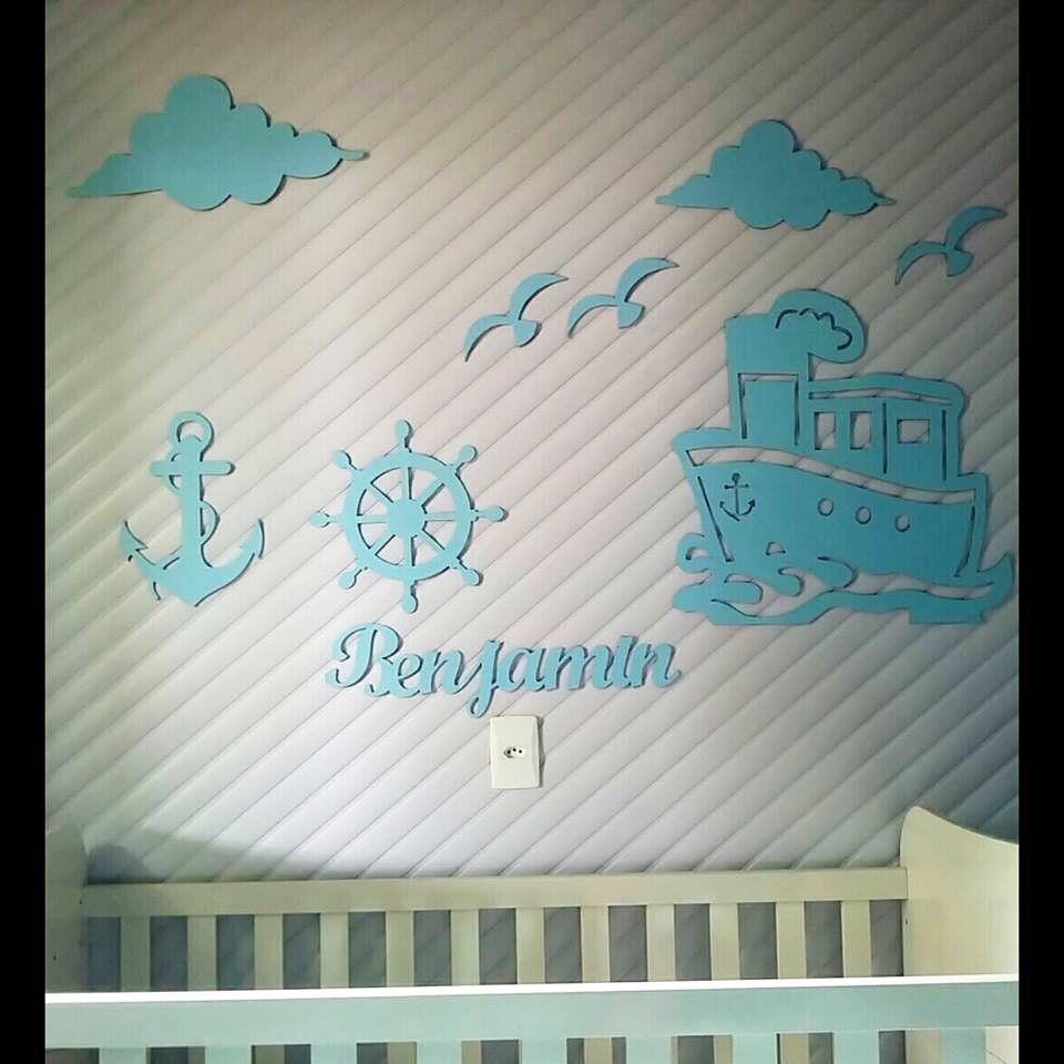 Kit Painel de Parede Completo 13 peças Marinheiro Personalizado MDF AZUL CLARO