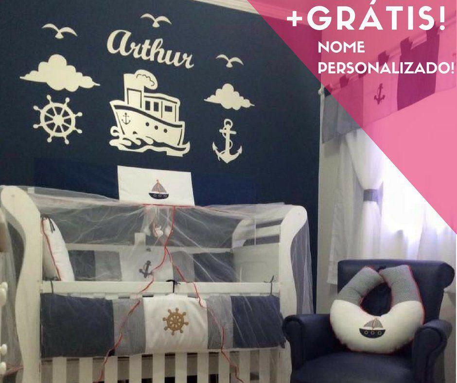 Kit Painel de Parede Completo Marinheiro Personalizado Decoração Quarto do Bebê