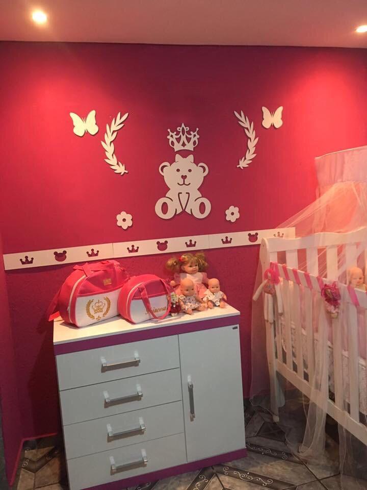 Kit Painel de Parede MDF Completo 4 Faixas Ursa Princesa Lacinho Decoração Quarto do Bebê