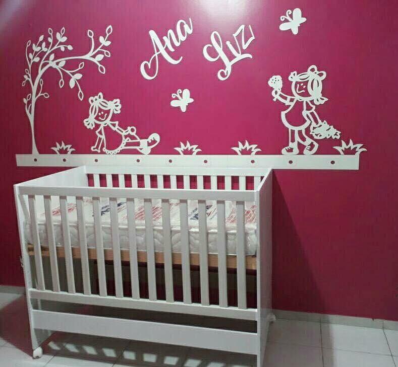 Kit Painel de Parede MDF Completo Bonecas Personalizado Decoração Quarto do Bebê