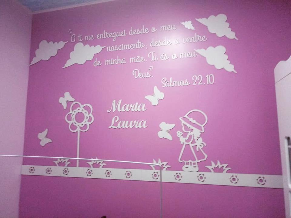 Kit Painel de Parede MDF Completo Camponesa com Frase e Nuvens Decoração Quarto do Bebê