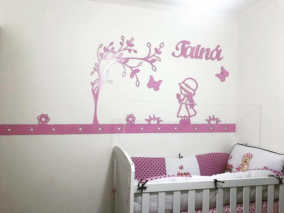 Kit Painel de Parede MDF Completo 13 peças Camponesa Personalizado Decoração Quarto do Bebê