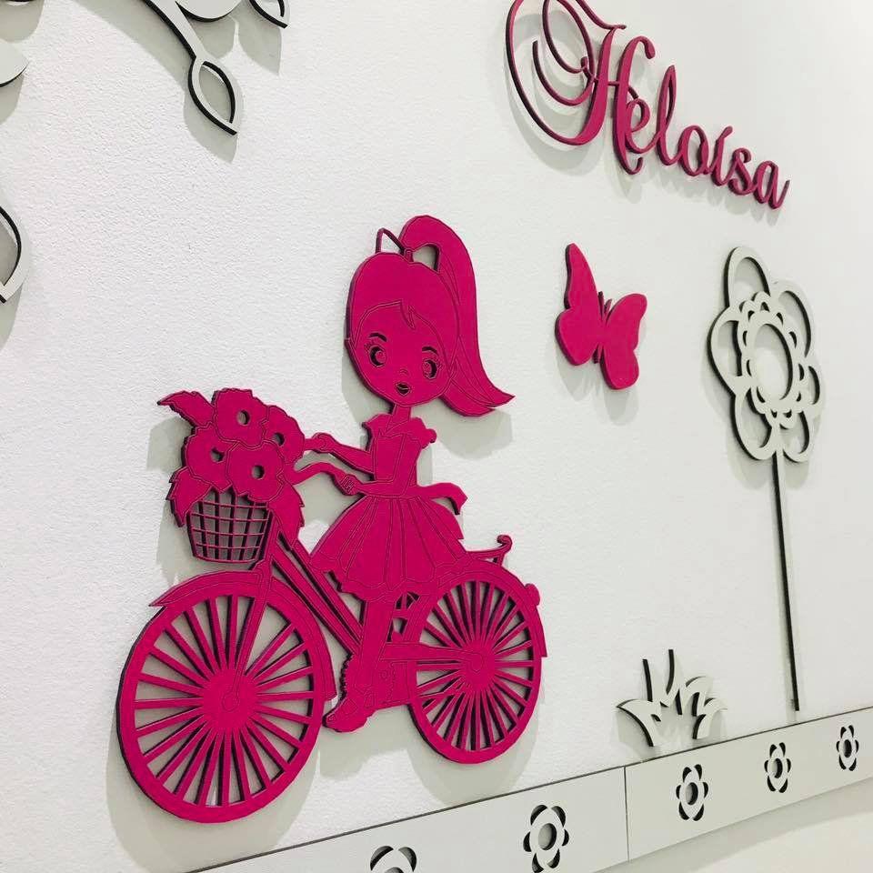 Kit Painel de Parede MDF Completo 14 peças Menina Com Bicicleta  Personalizado Decoração Quarto do Bebê