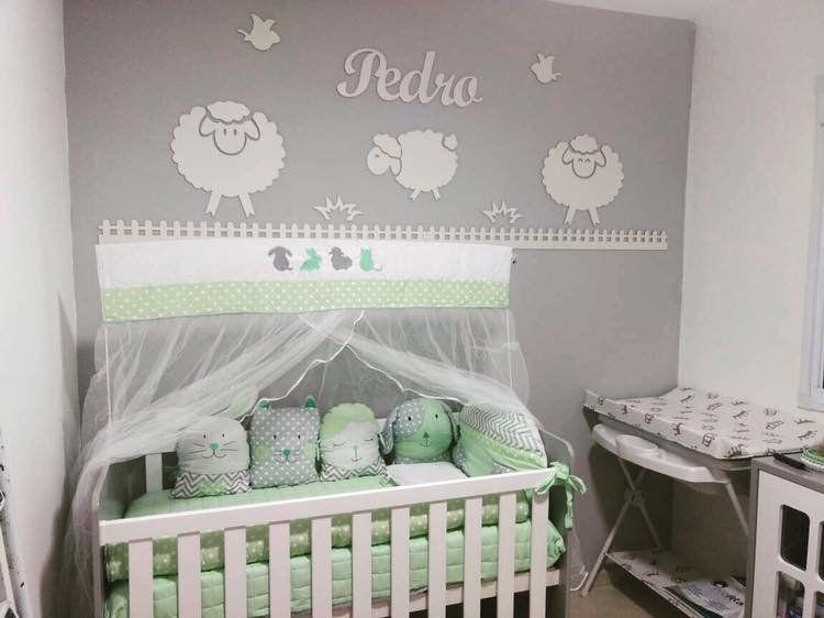 Kit Painel de Parede MDF Completo Ovelhas Decoração Quarto do Bebê