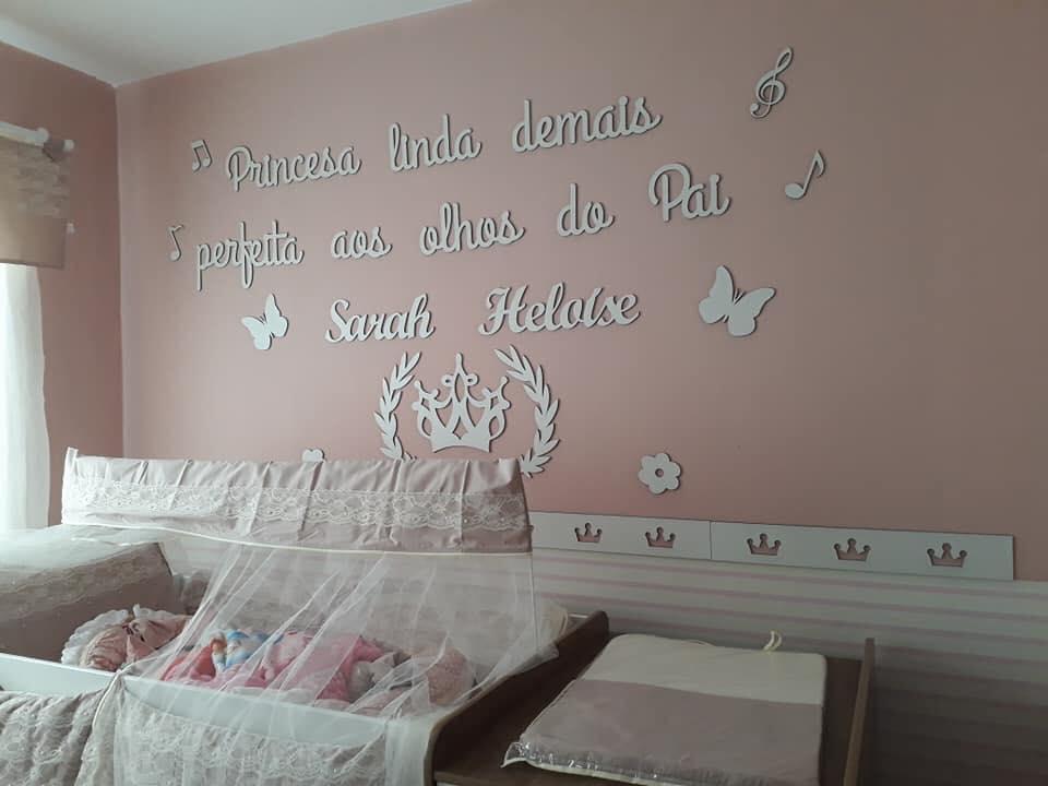 Kit Painel de Parede MDF Completo Princesa Linda Demais