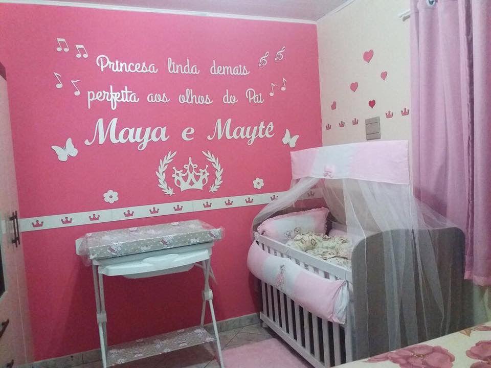 Kit Painel de Parede MDF Completo Princesa Linda Demais Gêmeas com dois nomes