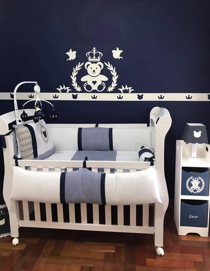 Kit Painel de Parede MDF Completo Urso Príncipe Coração Decoração Quarto do Bebê
