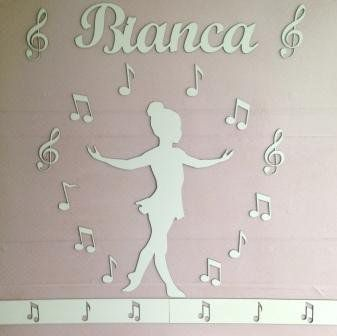 Kit Painel de Parede Completo Menina Bailarina Música MDF BRANCO