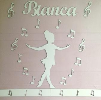 Kit Painel de Parede Menina Bailarina Música MDF CRU