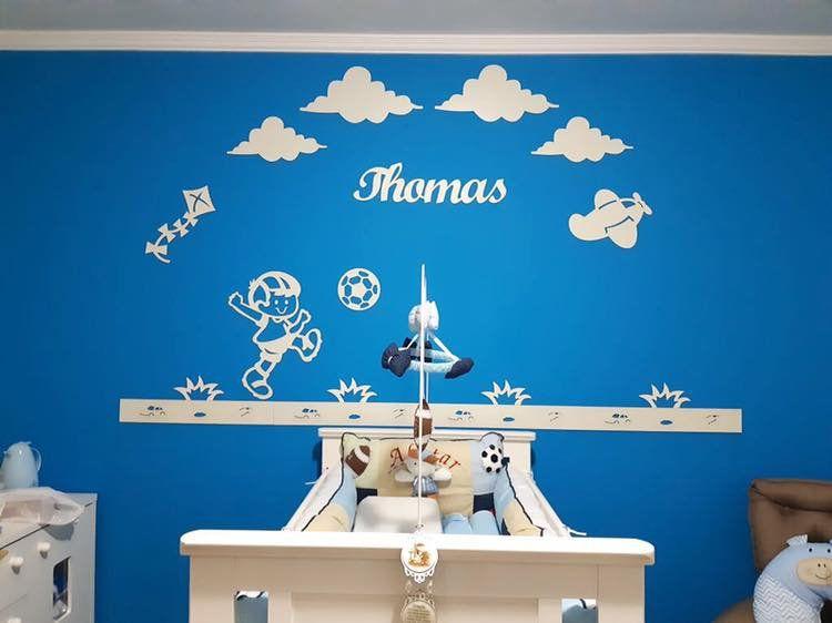 Kit Painel de Parede Menino Brinquedos Nuvens Personalizado Completo
