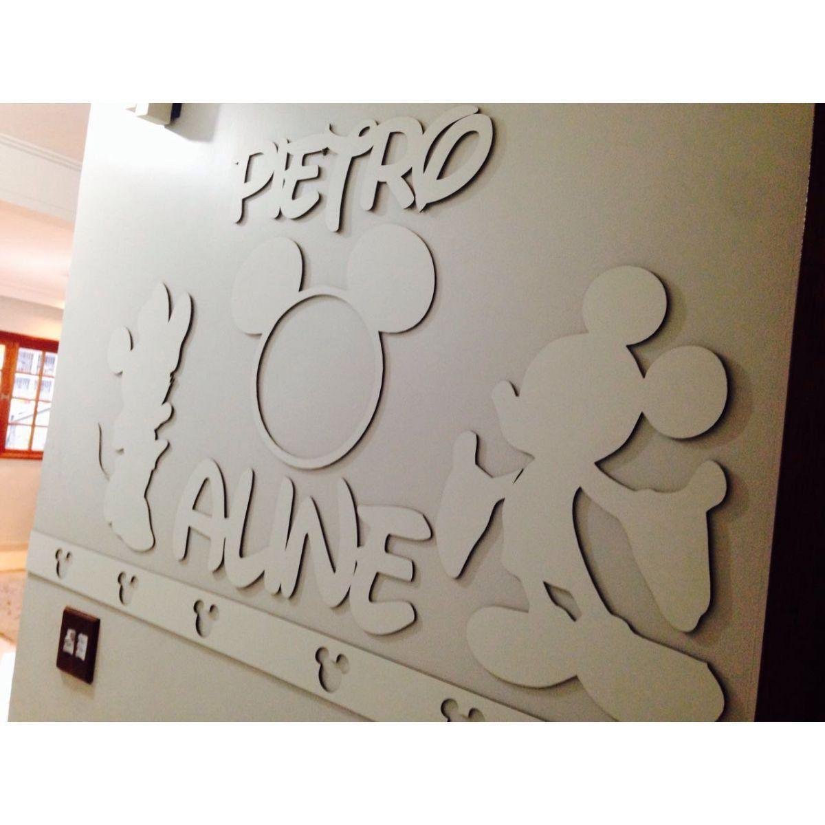Kit Painel de Parede Completo Mickey e Minnie Personalizado MDF Branco
