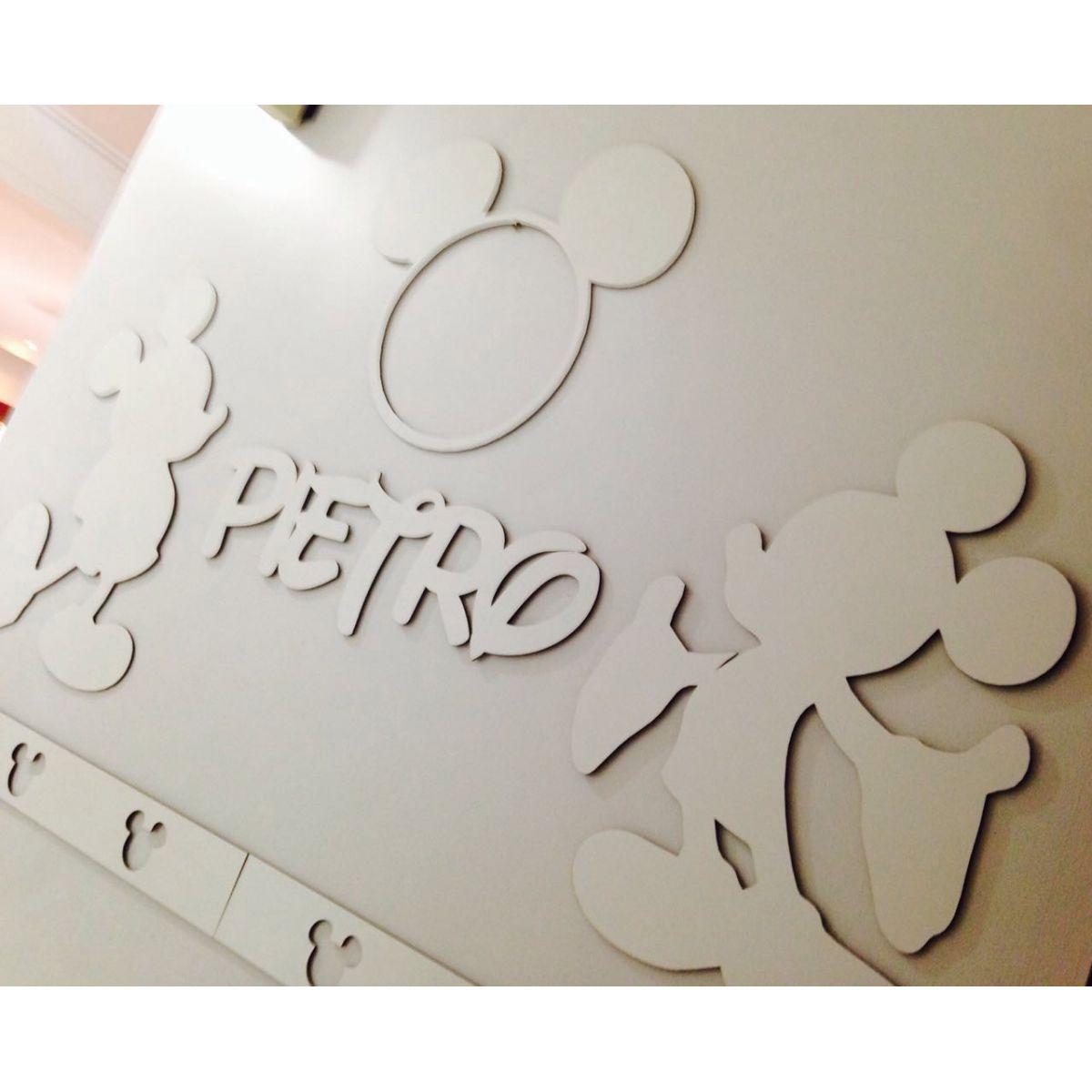 Kit Painel de Parede Mickey Personalizado MDF BRANCO
