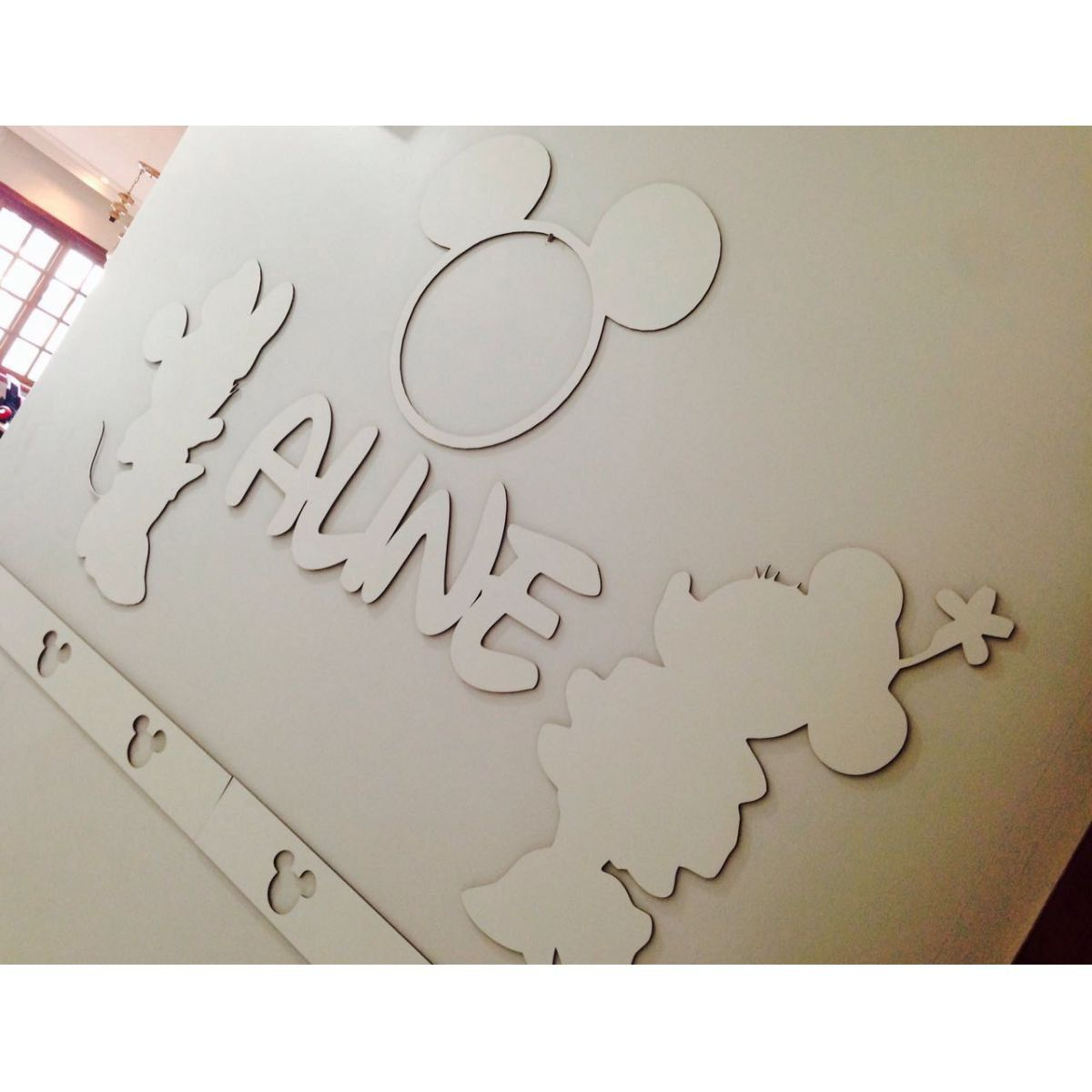 Kit Painel de Parede Minnie Personalizado MDF Branco