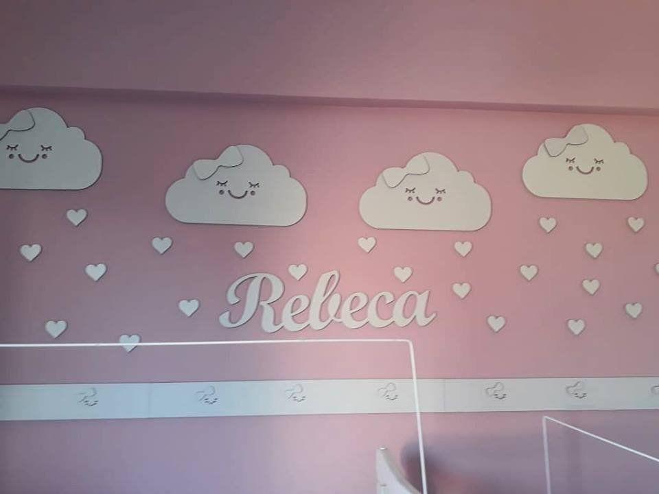 Kit Painel de Parede Nuvens Chuva de Amor Personalizado MDF BRANCO Nuvem