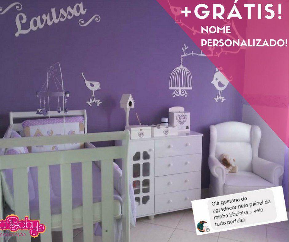 Kit Painel de Parede Completo com Faixas Passarinhos MDF BRANCO