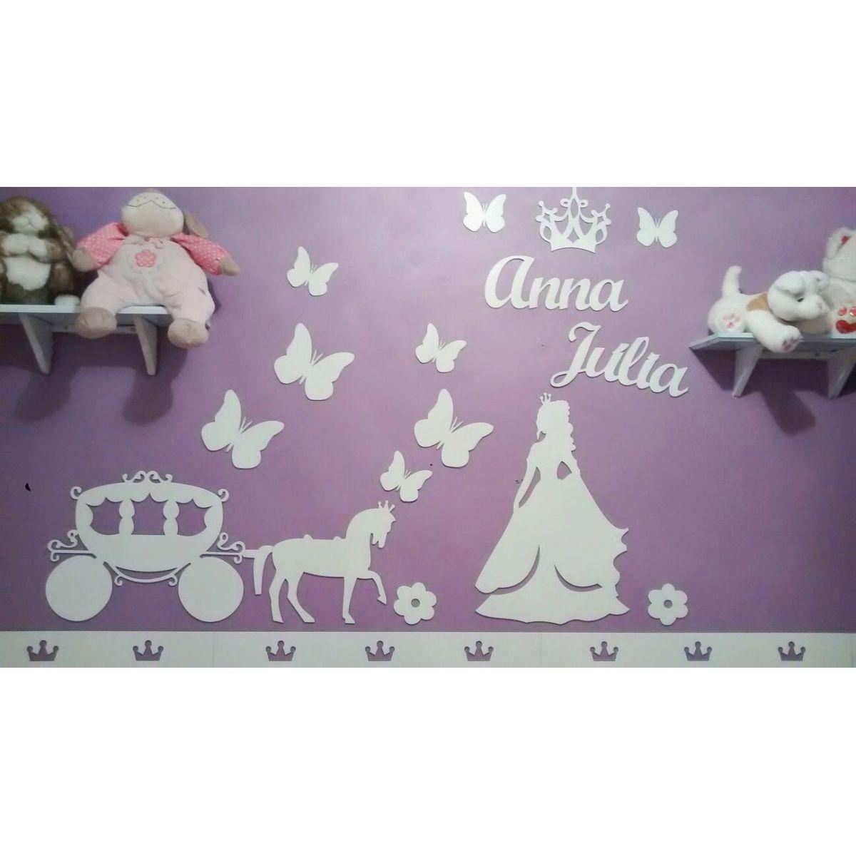 Kit Painel de Parede Princesa Carruagem Borboletas Personalizado MDF BRANCO