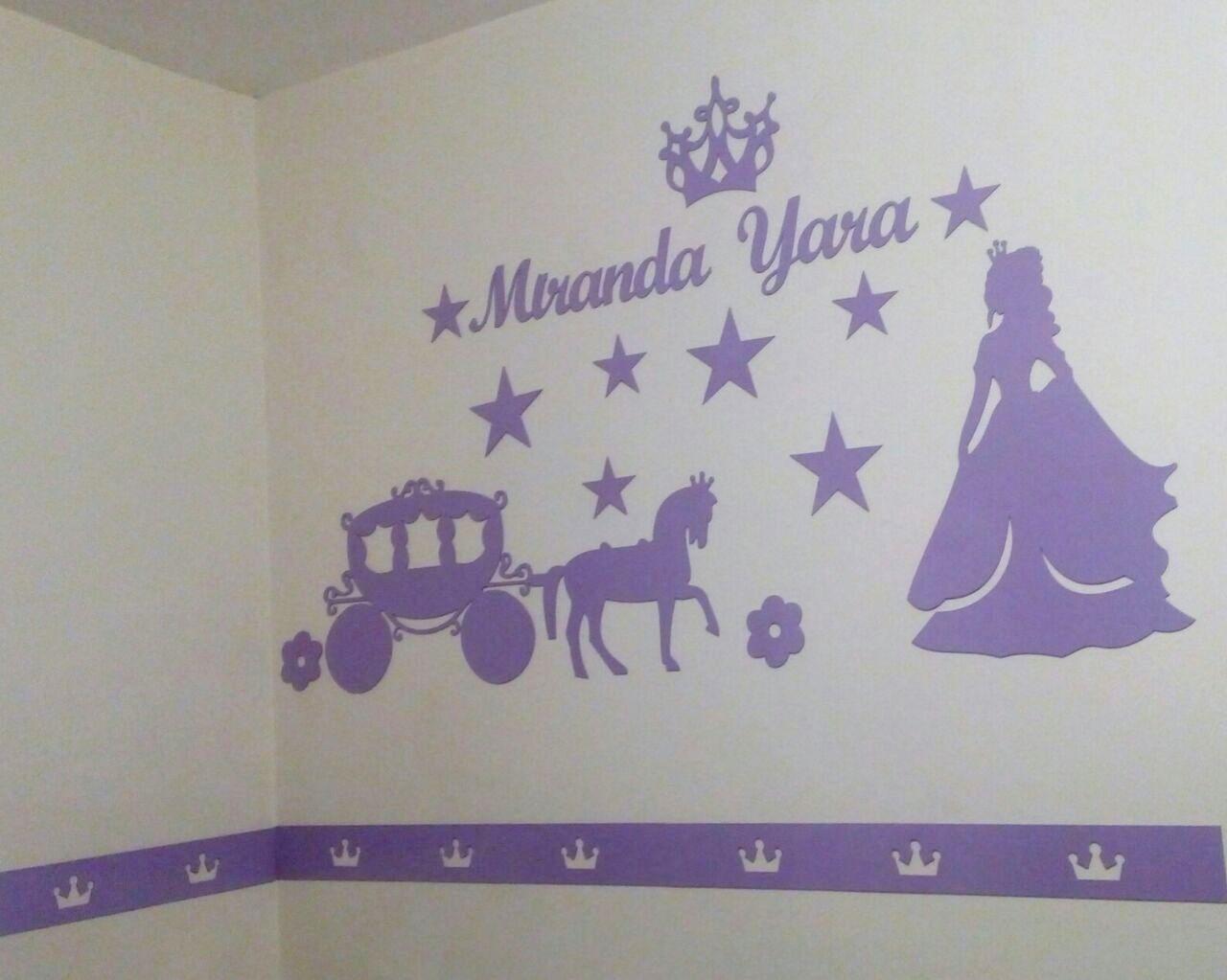 Kit Painel de Parede Princesa Carruagem Borboletas Personalizado MDF LILÁS