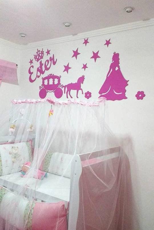 Kit Painel de Parede Princesa Carruagem Estrelas Personalizado ACRÍLICO