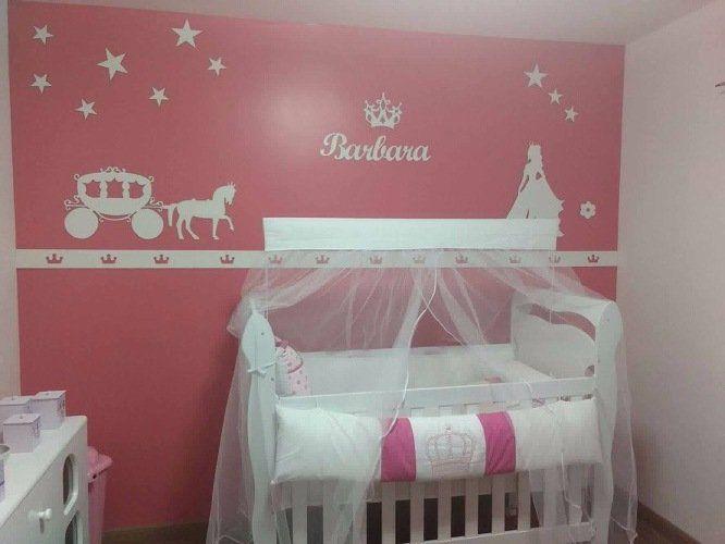 Kit Painel de Parede Completo 14 peças Princesa Carruagem Estrelas Personalizado
