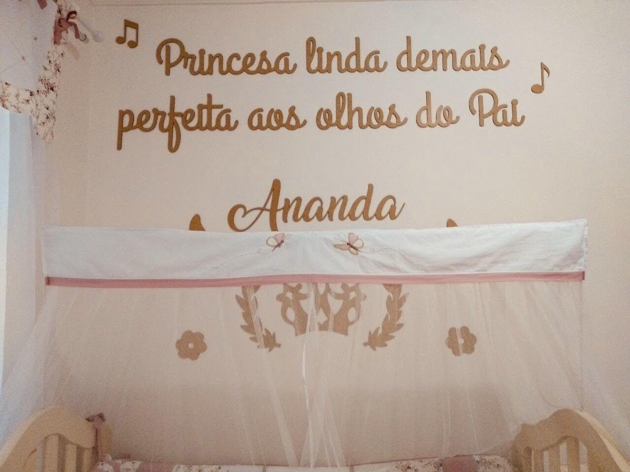 Kit Painel de Parede Completo Princesa Linda Demais MDF BRANCO Decoração