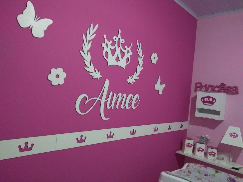 Kit Painel de Parede Completo Princesa MDF BRANCO Decoração Quarto do Bebê
