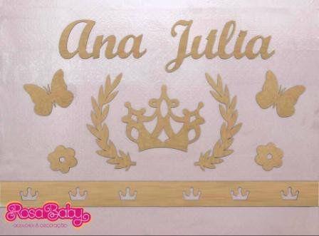 Kit Painel de Parede Completo Princesa MDF CRU