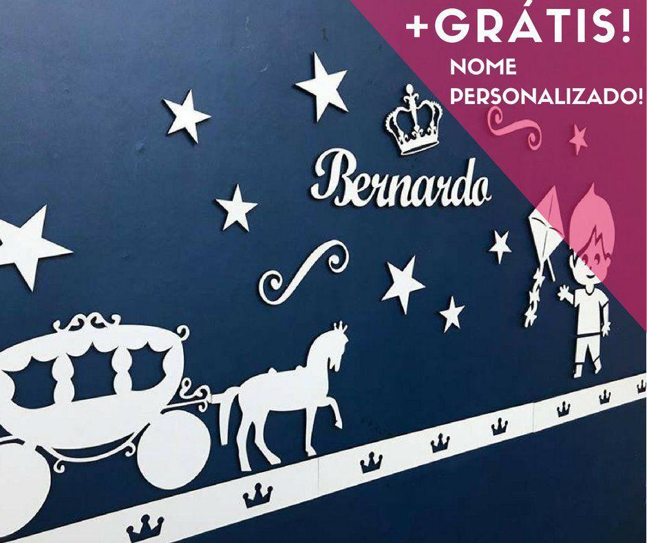 Kit Painel de Parede Príncipe Menino Pipa Carruagem Completo com Faixas Personalizado