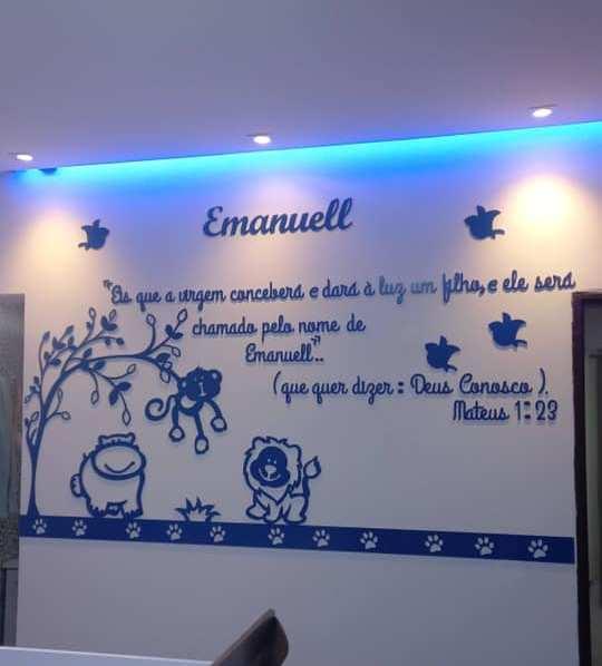 Kit Painel de Parede Safári 3 Bichos com Frase Personalizado Decoração Quarto do Bebê com Frase Bíblica Emanuel