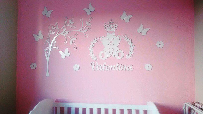 Kit Painel de Parede Completo Ursa Princesa Lacinho com Árvore Personalizado MDF BRANCO