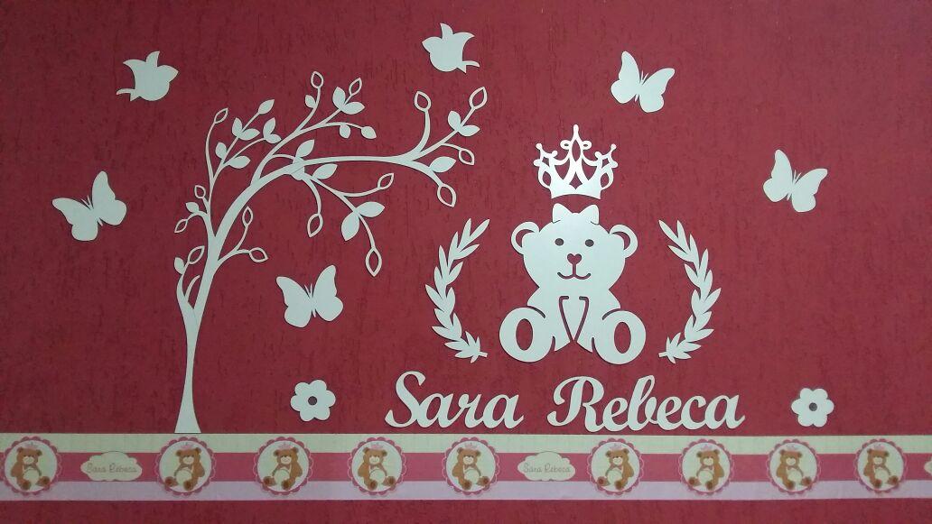 Kit Painel de Parede Ursa Princesa Lacinho com Árvore Personalizado MDF Cru