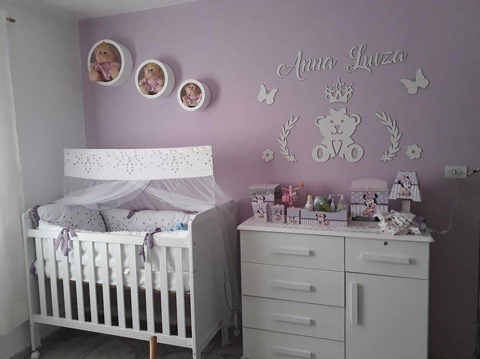 Kit Painel de Parede Completo 13 Peças Ursa Princesa Lacinho Personalizado Decoração Quarto do Bebê