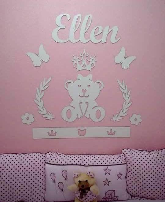 Kit Painel de Parede Completo Ursa Princesa Lacinho Personalizado Decoração Quarto do Bebê