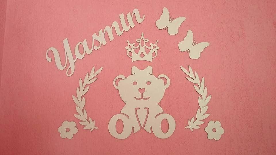 Kit Painel de Parede Completo 4 Faixas Ursa Princesa Lacinho Personalizado Decoração Quarto do Bebê