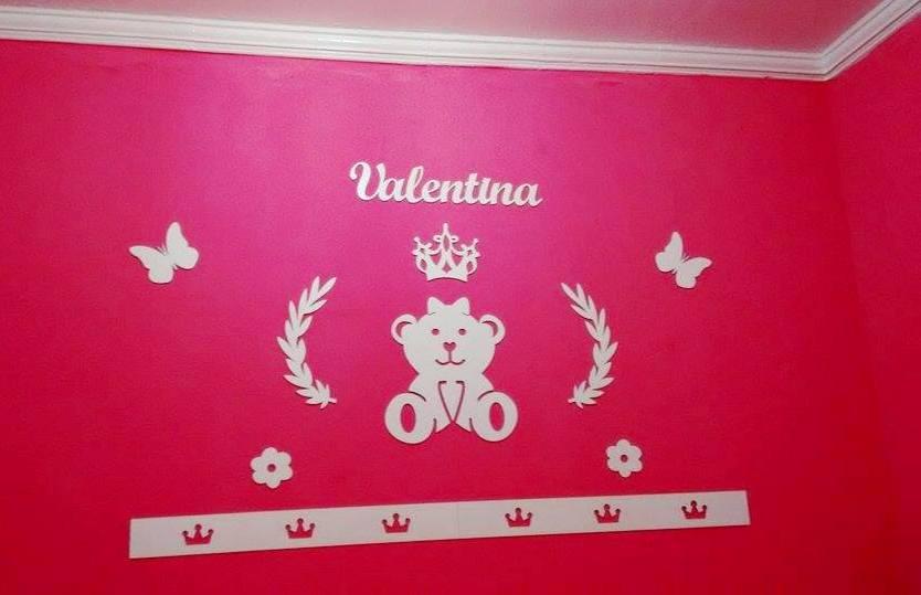 Kit Painel de Parede Ursa Princesa Lacinho Personalizado MDF BRANCO