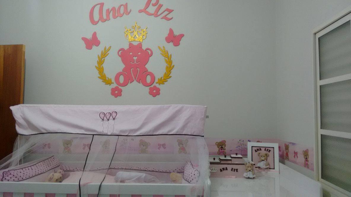 Kit Painel de Parede Ursa Princesa Lacinho Personalizado MDF CRU