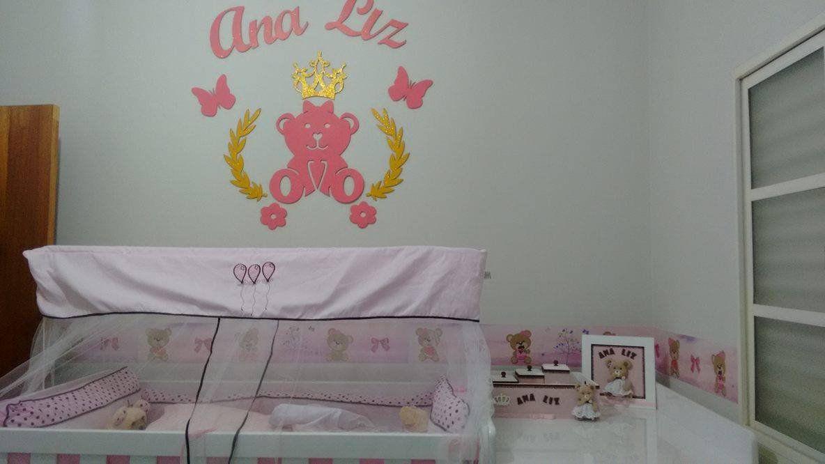 Kit Painel de Parede Completo 13 peças Ursa Princesa Lacinho Personalizado MDF CRU