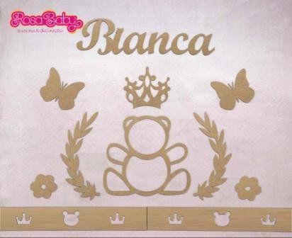 Kit Painel de Parede Completo Ursa Princesa Personalizado 2 MDF CRU
