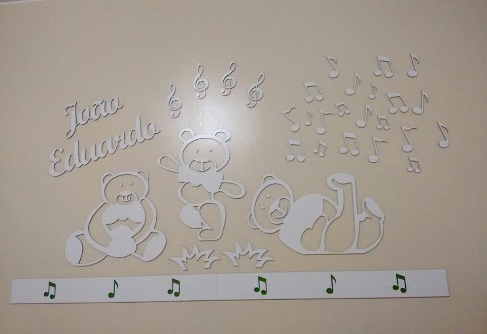 Kit Painel de Parede Ursinhos Música Personalizado MDF Branco